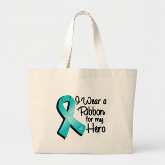 I Wear a Teal Ribbon For My Hero Large Tote Bag