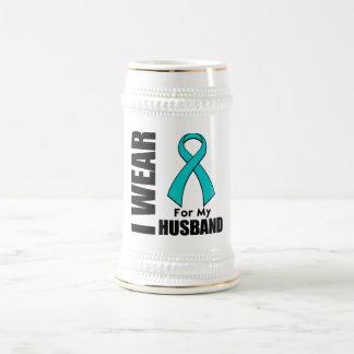 I Wear a Teal Ribbon For My Husband Coffee Mugs