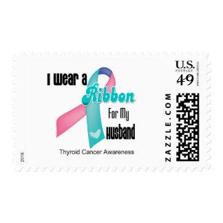 I Wear a Thyroid Cancer Ribbon For My Husband Stamp