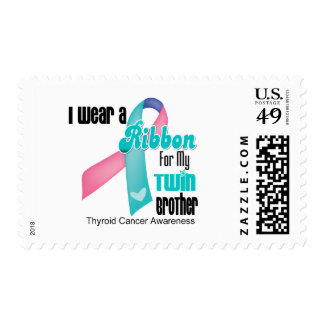 I Wear a Thyroid Cancer Ribbon For My Twin Brother Postage Stamp
