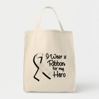 I Wear a White-Pearl Ribbon For My Hero Tote Bag