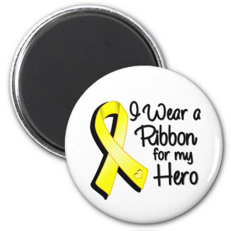 I Wear a Yellow Ribbon For My Hero 2 Inch Round Magnet