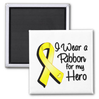 I Wear a Yellow Ribbon For My Hero 2 Inch Square Magnet