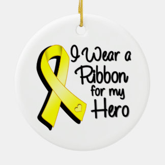 I Wear a Yellow Ribbon For My Hero Ceramic Ornament