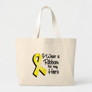 I Wear a Yellow Ribbon For My Hero Large Tote Bag