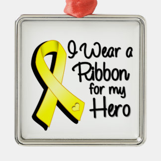 I Wear a Yellow Ribbon For My Hero Metal Ornament