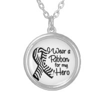 I Wear a Zebra Ribbon For My Hero Silver Plated Necklace