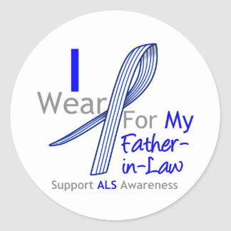 I Wear ALS Ribbon For My Father-in-Law Classic Round Sticker