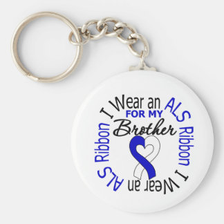 I Wear an ALS Ribbon For My Brother Basic Round Button Keychain