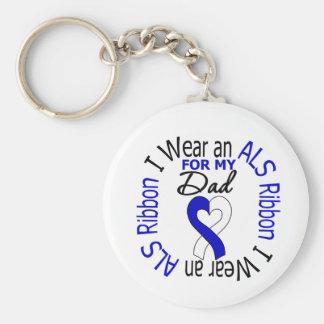 I Wear an ALS Ribbon For My Dad Keychain
