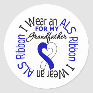 I Wear an ALS Ribbon For My Grandfather Classic Round Sticker