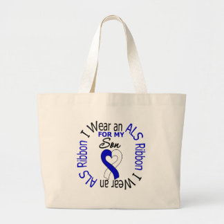I Wear an ALS Ribbon For My Son Large Tote Bag
