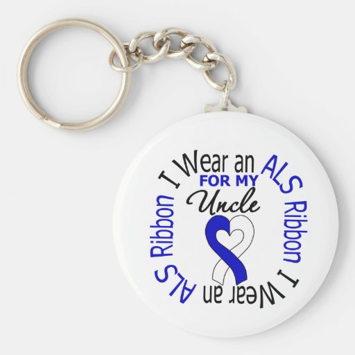 I Wear an ALS Ribbon For My Uncle Keychain