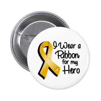 I Wear an Amber Awareness Ribbon For My Hero Button