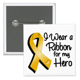 I Wear an Amber Awareness Ribbon For My Hero Pinback Button