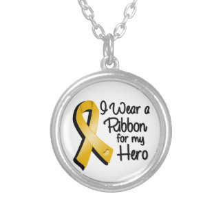I Wear an Amber Awareness Ribbon For My Hero Silver Plated Necklace