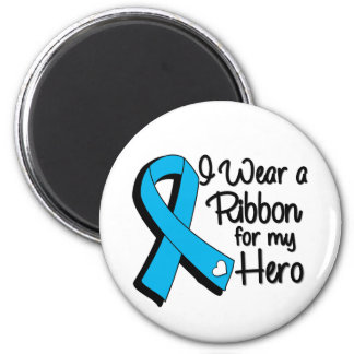 I Wear an Aqua Blue Ribbon For My Hero 2 Inch Round Magnet