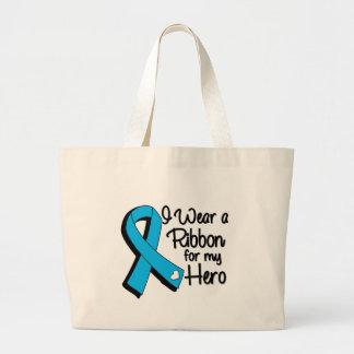 I Wear an Aqua Blue Ribbon For My Hero Large Tote Bag