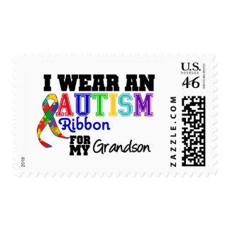 I Wear An Autism Ribbon For My Grandson Stamp