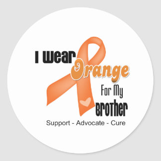 I Wear an Orange Ribbon For My Brother Classic Round Sticker