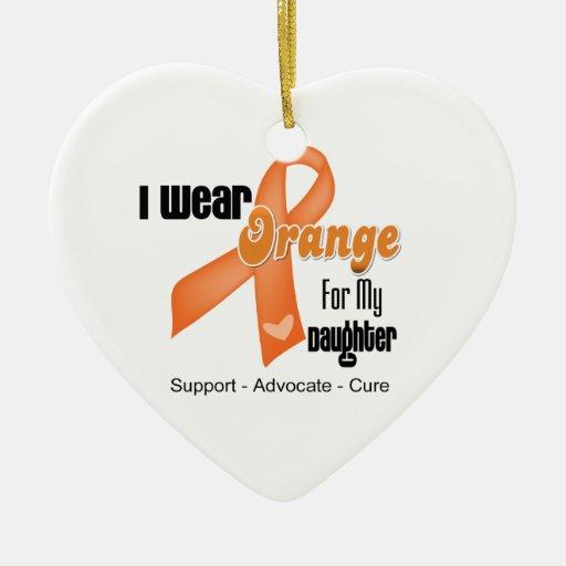 I Wear an Orange Ribbon For My Daughter Ceramic Ornament