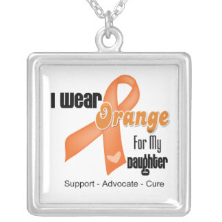I Wear an Orange Ribbon For My Daughter Silver Plated Necklace