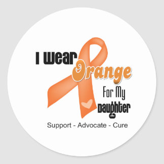 I Wear an Orange Ribbon For My Daughter Classic Round Sticker