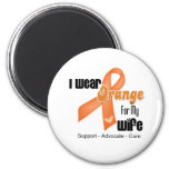 I Wear an Orange Ribbon For My Wife 2 Inch Round Magnet