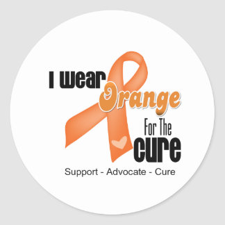 I Wear an Orange Ribbon For The Cure Classic Round Sticker