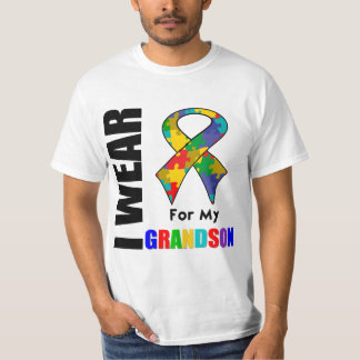 I Wear Autism Ribbon For My Grandson T-shirt
