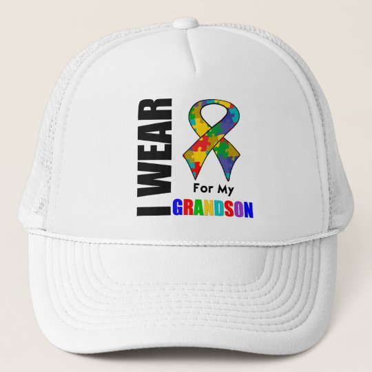 I Wear Autism Ribbon For My Grandson Trucker Hat