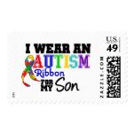 I Wear Autism Ribbon For My Son Postage Stamps