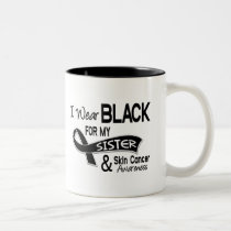 I Wear Black For My Sister 42 Skin Cancer Two-Tone Coffee Mug
