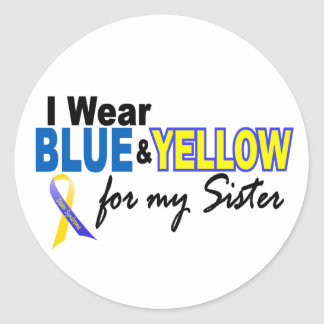 I Wear Blue and Yellow For My Sister Down Syndrome Classic Round Sticker