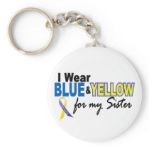 I Wear Blue and Yellow For My Sister Down Syndrome Keychain