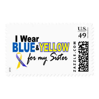 I Wear Blue and Yellow For My Sister Down Syndrome Postage