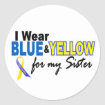 I Wear Blue and Yellow For My Sister Down Syndrome Sticker