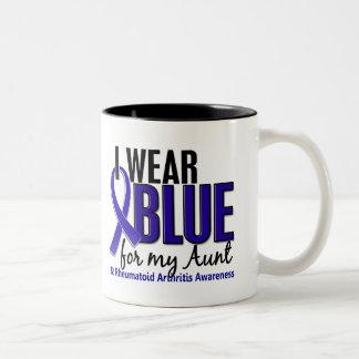 I Wear Blue Aunt Rheumatoid Arthritis RA Two-Tone Coffee Mug