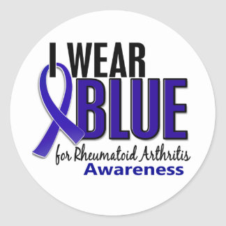 I Wear Blue Awareness 10 Rheumatoid Arthritis RA Classic Round Sticker