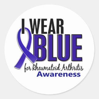 I Wear Blue Awareness 10 Rheumatoid Arthritis RA Classic Round Sticker
