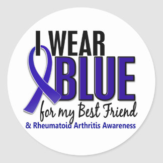 I Wear Blue Best Friend 10 Rheumatoid Arthritis RA Classic Round Sticker
