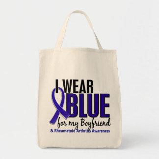 I Wear Blue Boyfriend 10 Rheumatoid Arthritis RA Grocery Tote Bag