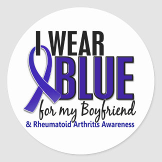 I Wear Blue Boyfriend 10 Rheumatoid Arthritis RA Classic Round Sticker