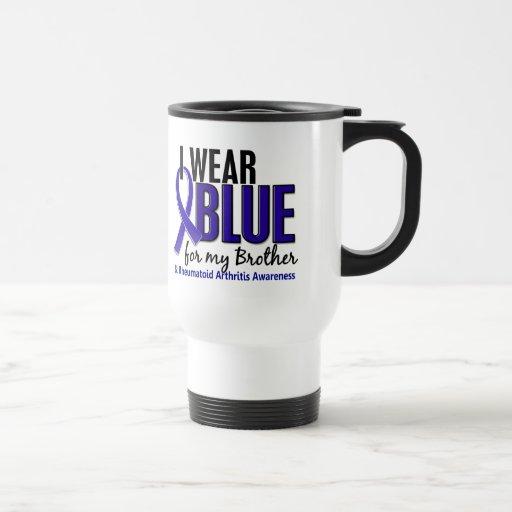 I Wear Blue Brother Rheumatoid Arthritis RA 15 Oz Stainless Steel Travel Mug