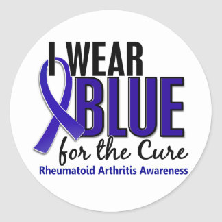 I Wear Blue Cure Rheumatoid Arthritis RA Round Sticker