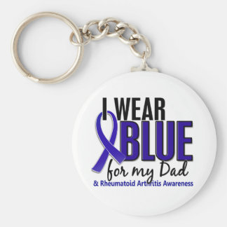 I Wear Blue Dad 10 Rheumatoid Arthritis RA Basic Round Button Keychain
