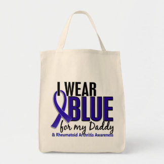 I Wear Blue Daddy 10 Rheumatoid Arthritis RA Grocery Tote Bag