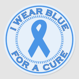 I Wear Blue For A Cure Classic Round Sticker