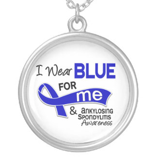 I Wear Blue For Me 42 Ankylosing Spondylitis AS Silver Plated Necklace