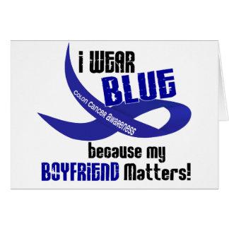I Wear Blue For My Boyfriend 33 COLON CANCER Card